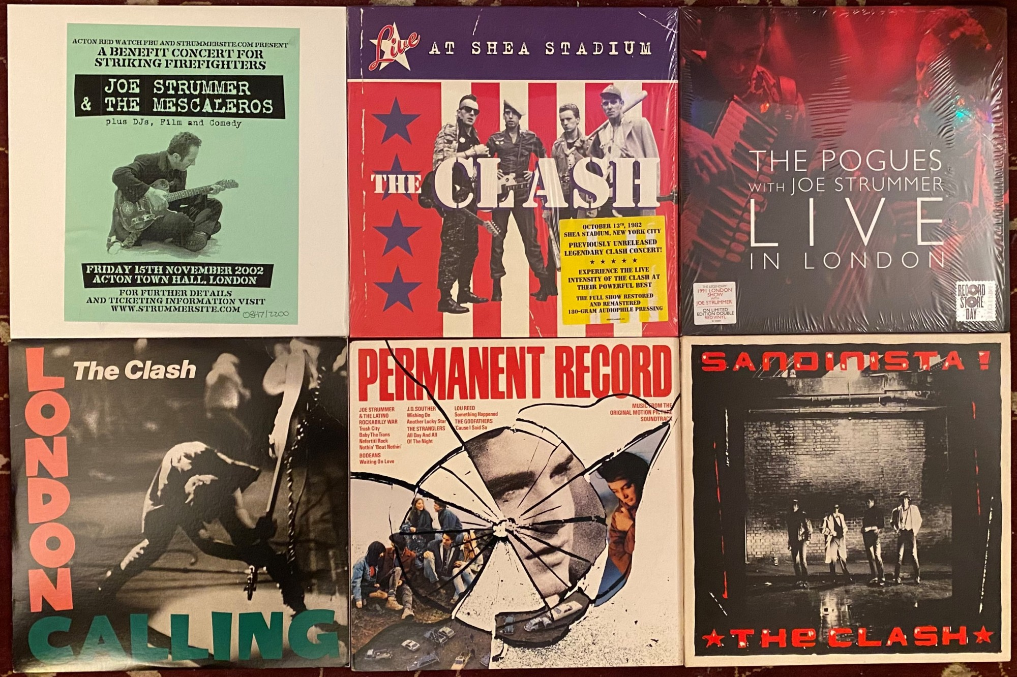 collage of Joe Strummer and Clash album covers